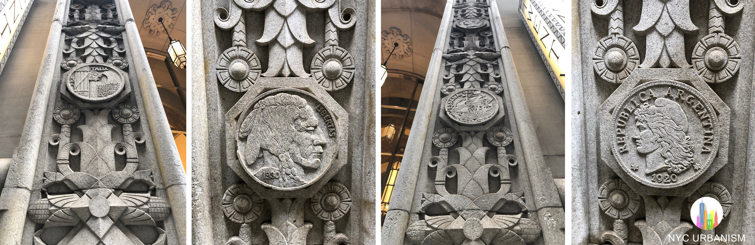 Coins surrounding the entrance depicting countries where the bank had branches.