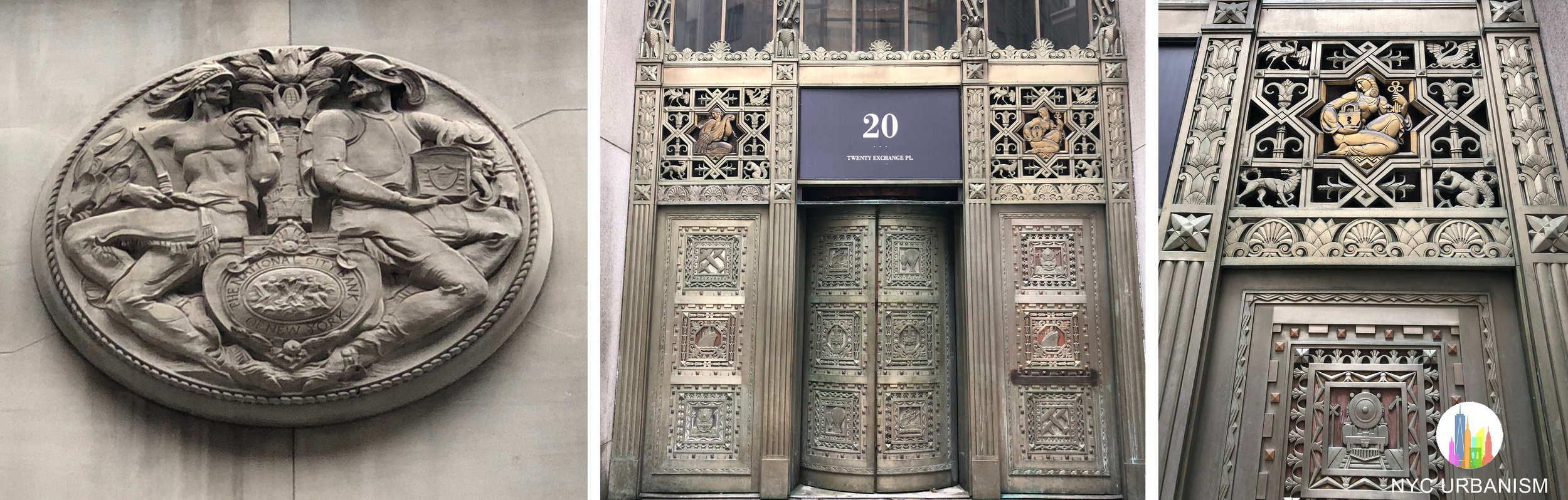 Left: National City Bank of New York logo above the entrance. There is also a seal for Farmers Trust and Loan. Middle: entrance to the original branch and senior offices. The Rotunda is on the other side of this entrance. Right: entrance detail.