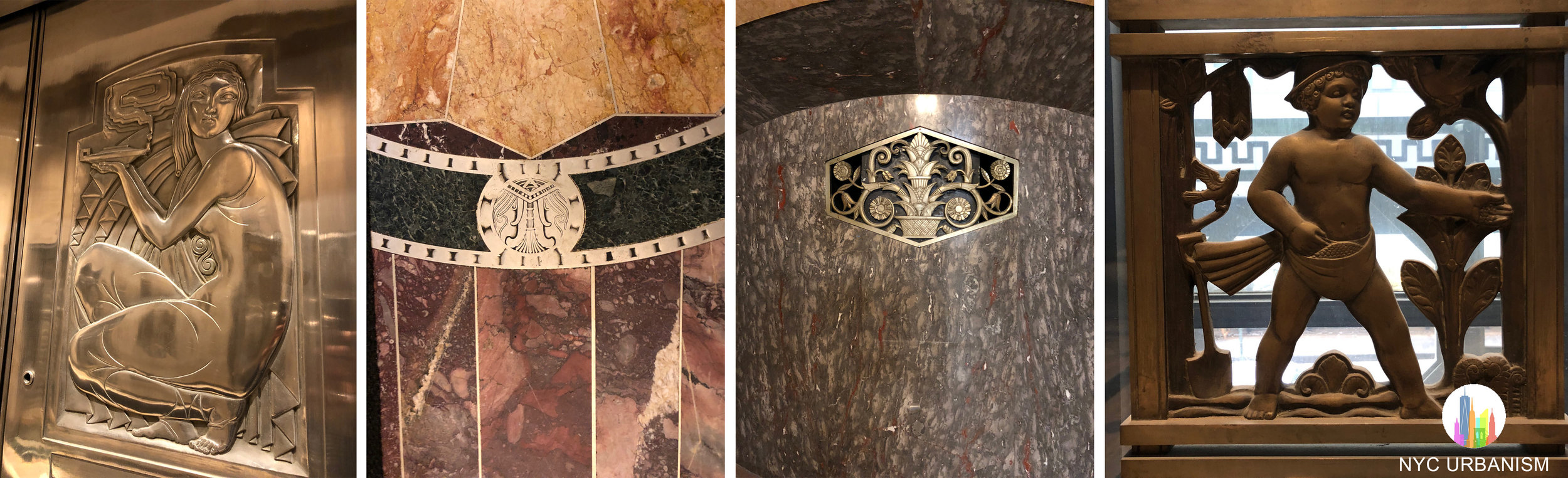 Left: elevator door. Middle left: marble details. Right: babies surrounding the windows in the senior offices depict various scenes.