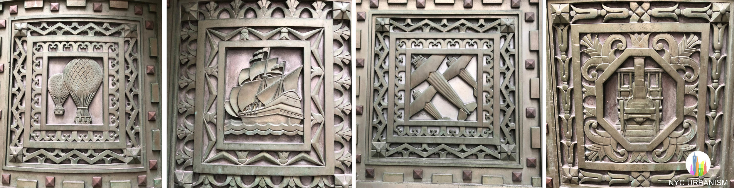 Seals on the doors depicting modern modes of transportation.