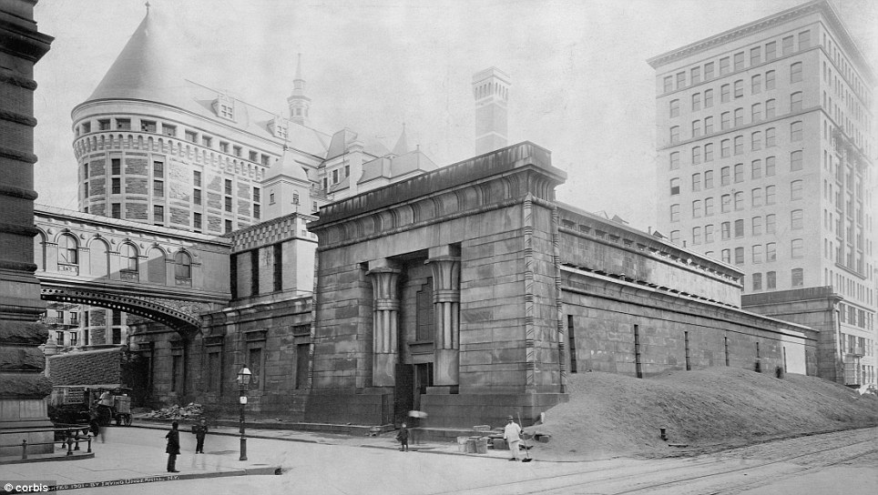 Tombs Demolition with New Tombs Rising Behind (circa 1900)