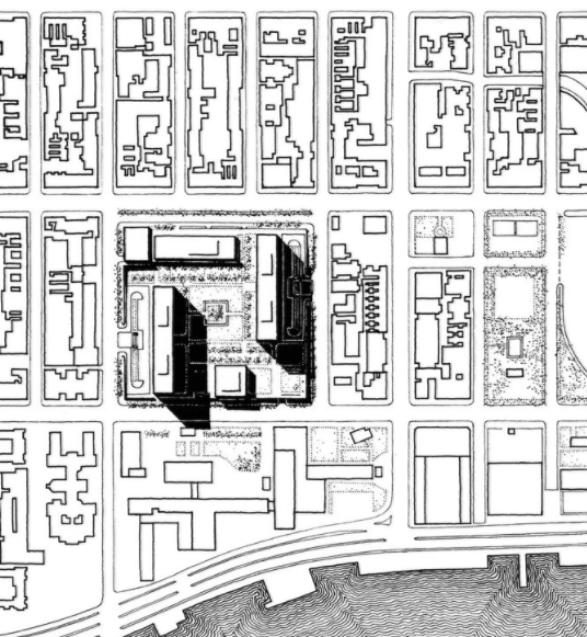 Site plan showing the two twin Kips Bay Plaza towers, two low-rise buildings and a 3-acre plaza (Pei Cobb Freed & Partners)