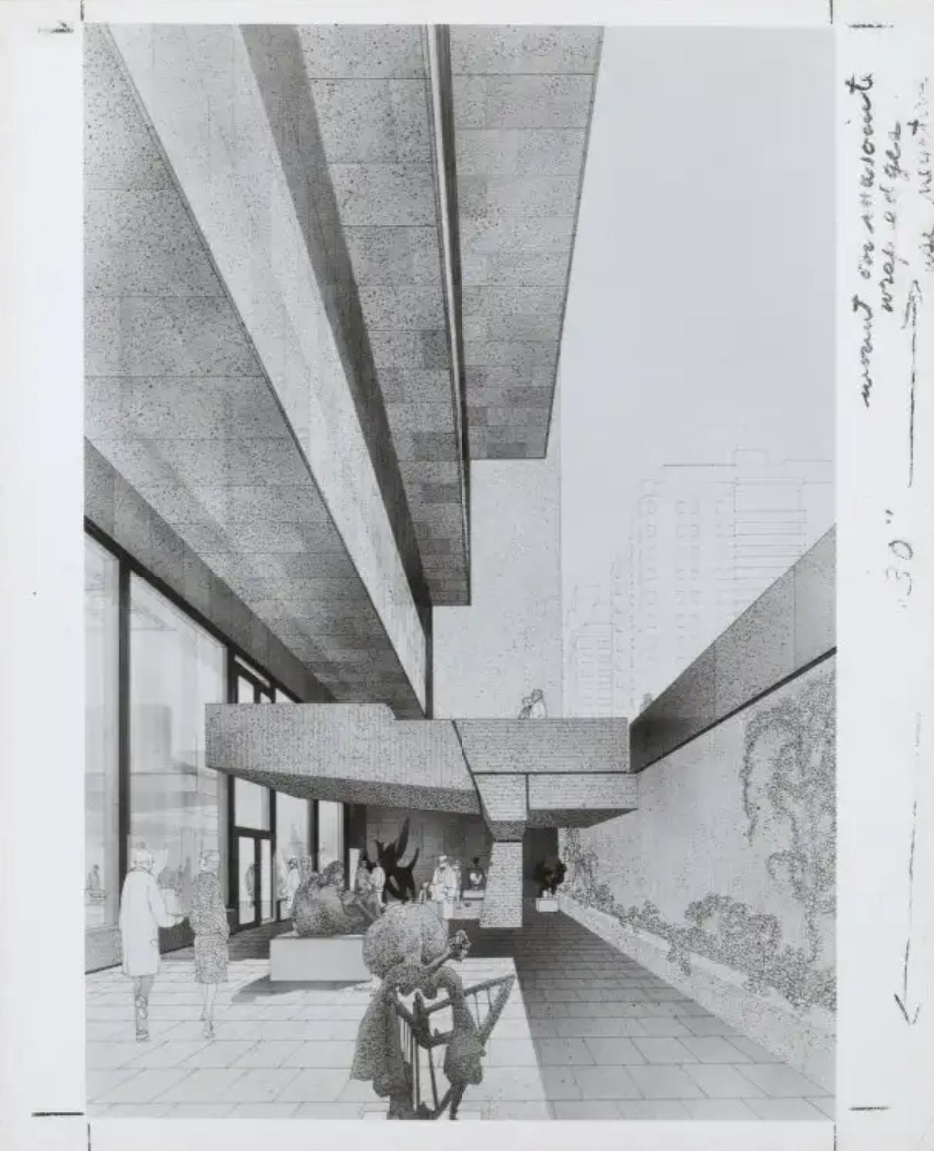 Rendering of sunken sculpture garden, showign the entrance bridge and projecting floors overhead
