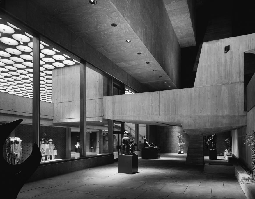 The sunken sculpture garden on the west side of the Whitney. Credit: Ezra Stoller, 1966.
