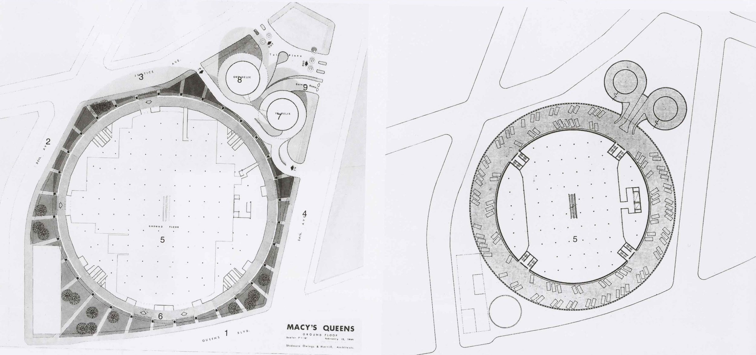 Macy's ground floor site plan (left) and parking (right). Credit:Skidmore, Owings & Merrill.