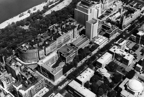 Barnard College campus aerial, circa 1970s