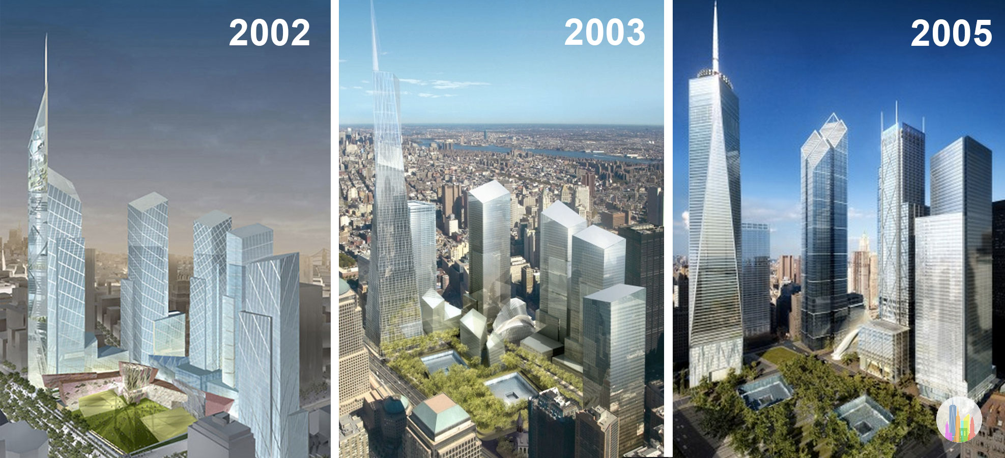 Left: Daniel Libeskind, 2002; Middle and Right:   Skidmore, Owings, and Merrill with David Childs as the lead partner, 2003, 2005.