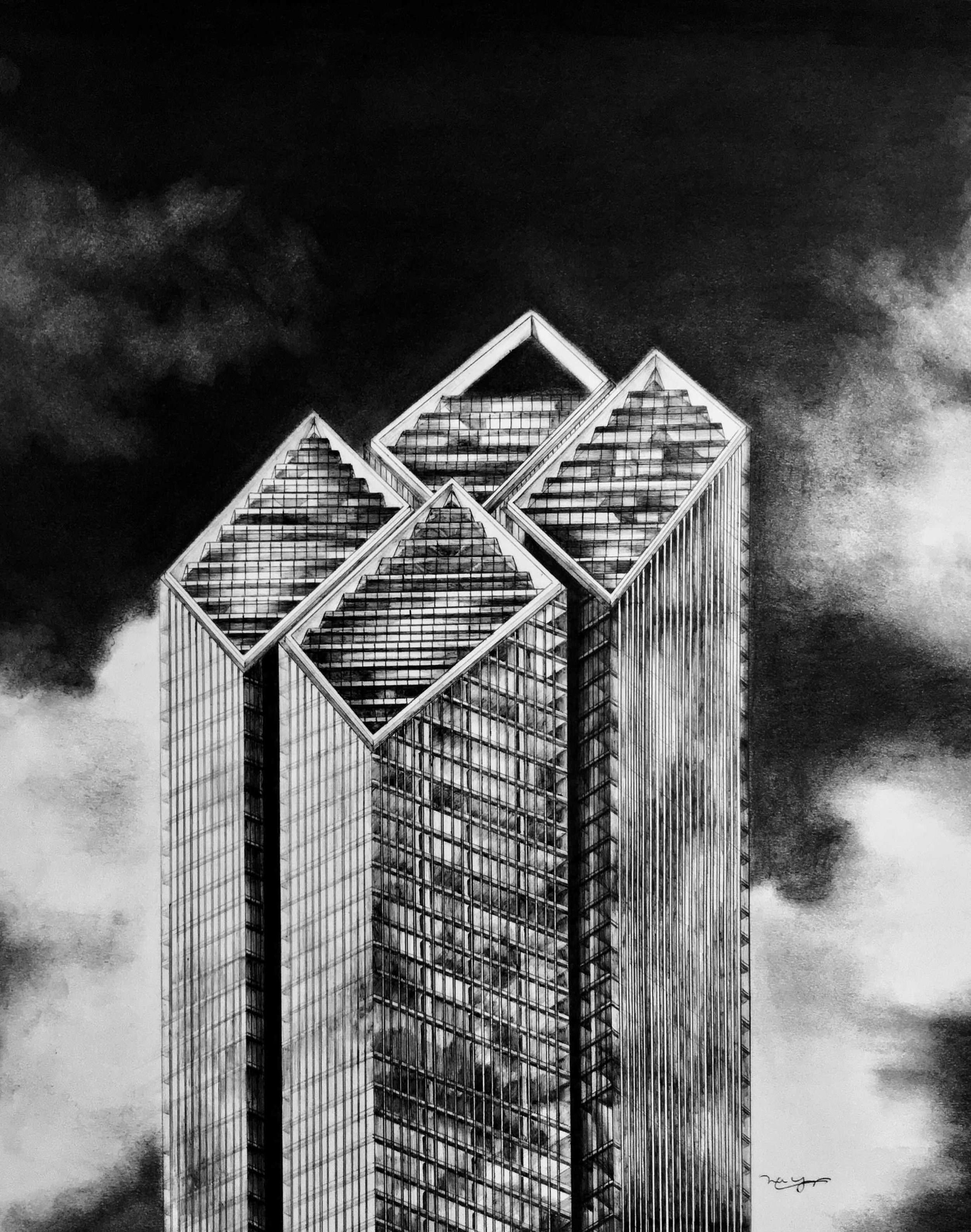 """Norman Foster's """"diamond-topped""""proposal for 2 World Trade Center, drawing by Michael Young,  click here to purchase a signed artist's print ."""