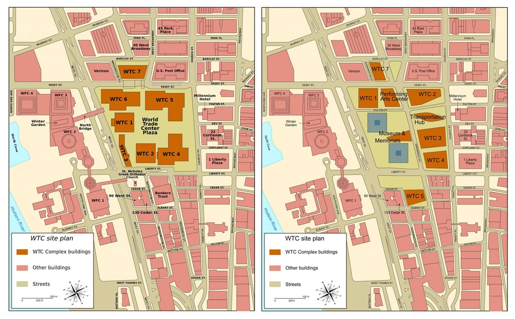 Original WTC site plan with Bankers Trust to the south (left) and new site plan with 5 WTC included (right)