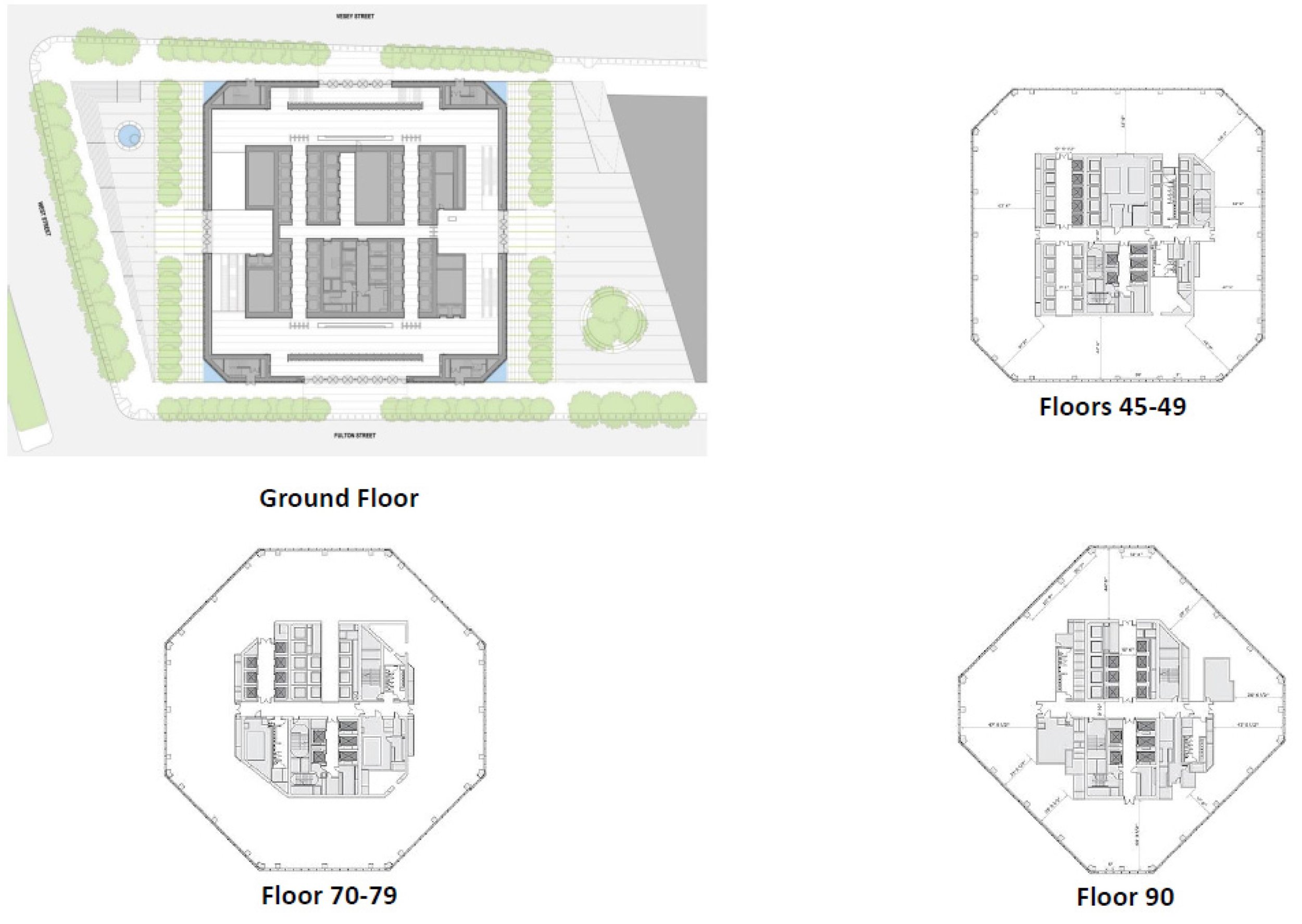 One World Trade gradually tapers from the base, transforming from a square-shaped plan, to an octagon halfway up the building, and finally back to a square but smaller in size and rotated 45 degrees relative to the base.