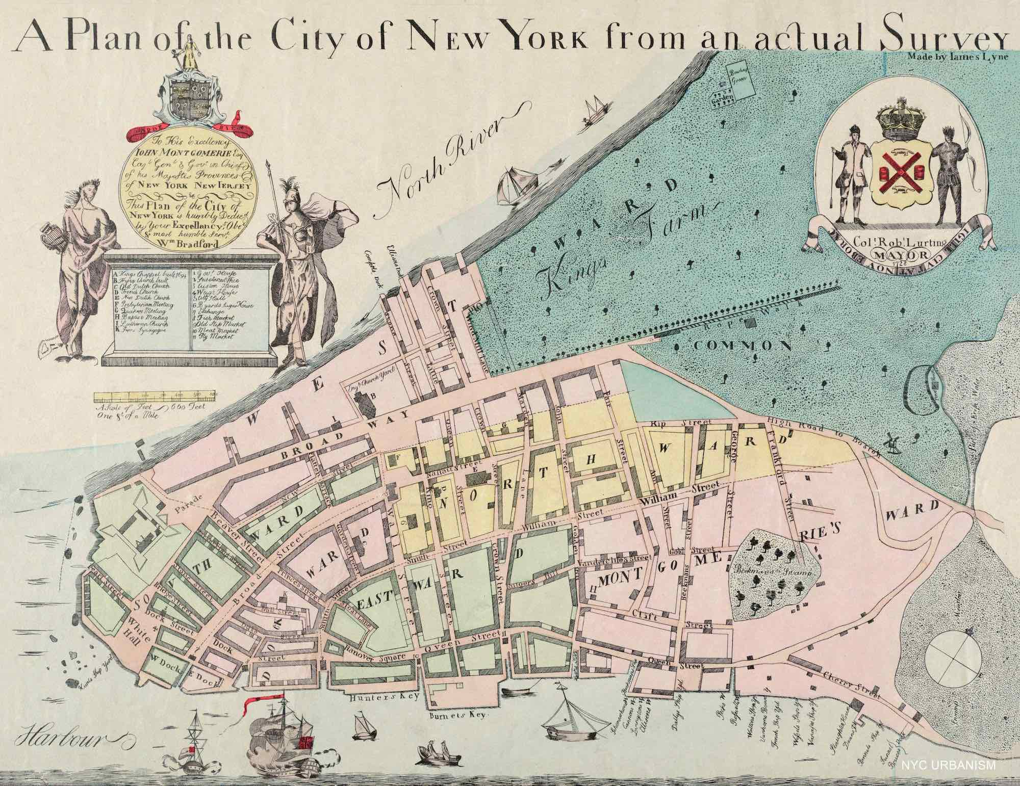 Map Of New York Revolutionary War.1728 Map Of British New York Nyc Urbanism