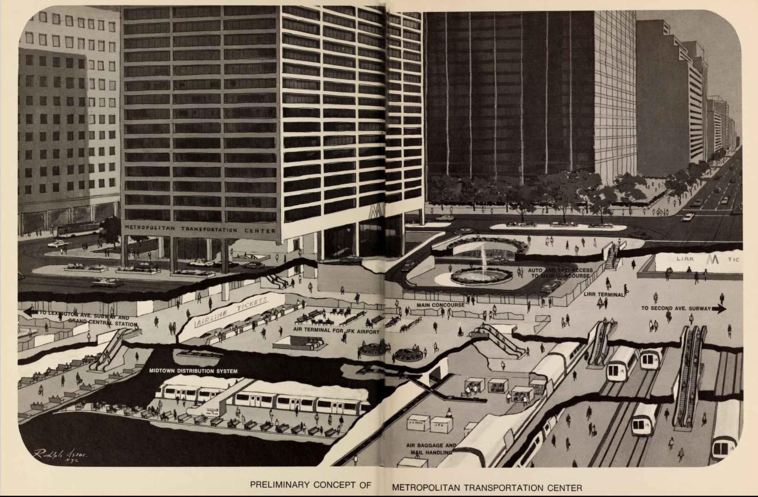 Rendering of Metropolitan Transit Center for LIRR on Third Avenue. Metropolitan Commuter Transportation Authority, 1968.