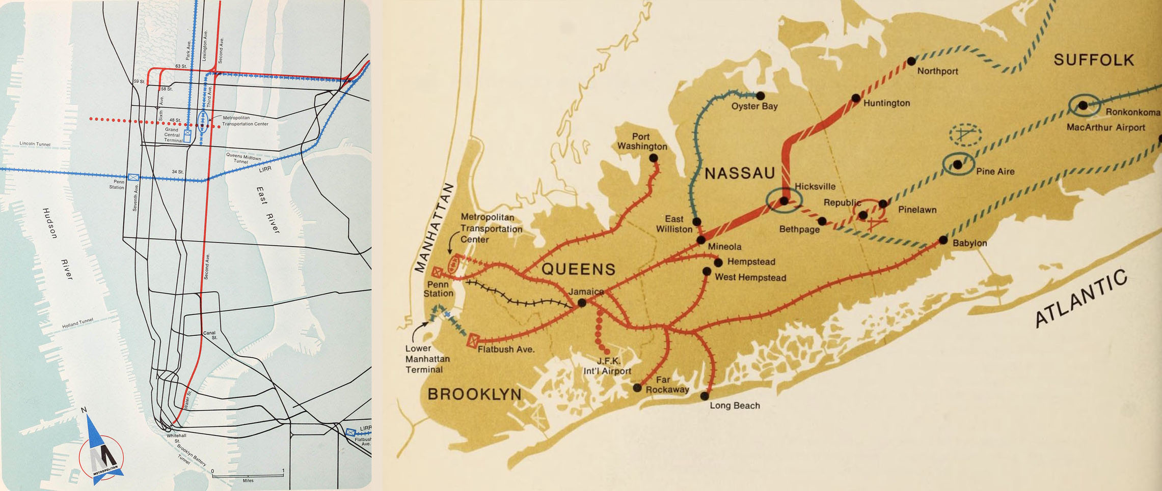 Planning map showing the convergence of LIRR lines in Queens and the proposed Metropolitan Transportation Center on Thirds Avenue and 48th Street. Metropolitan Commuter Transportation Authority, 1968.