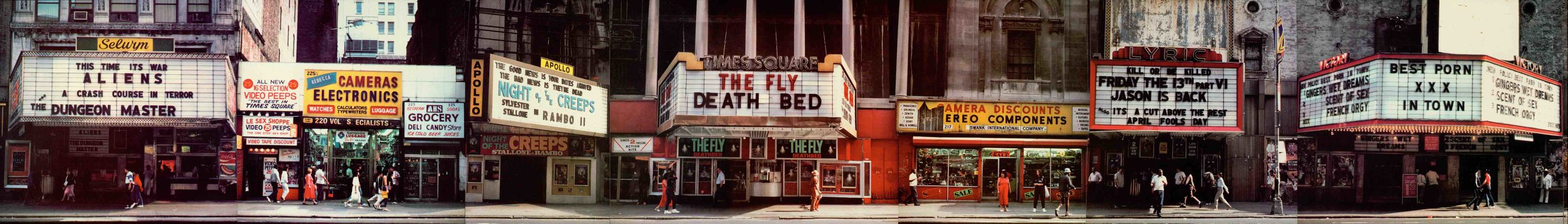 42nd Street with the Times Square Theater front and center, 1987. Photo: Battman.