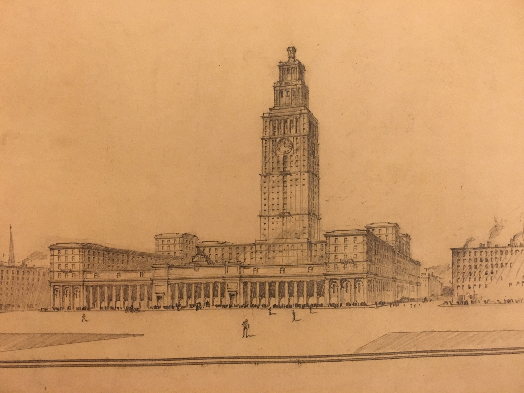 Early plan for hotel tower above Penn Station, drawing by Charles McKim.