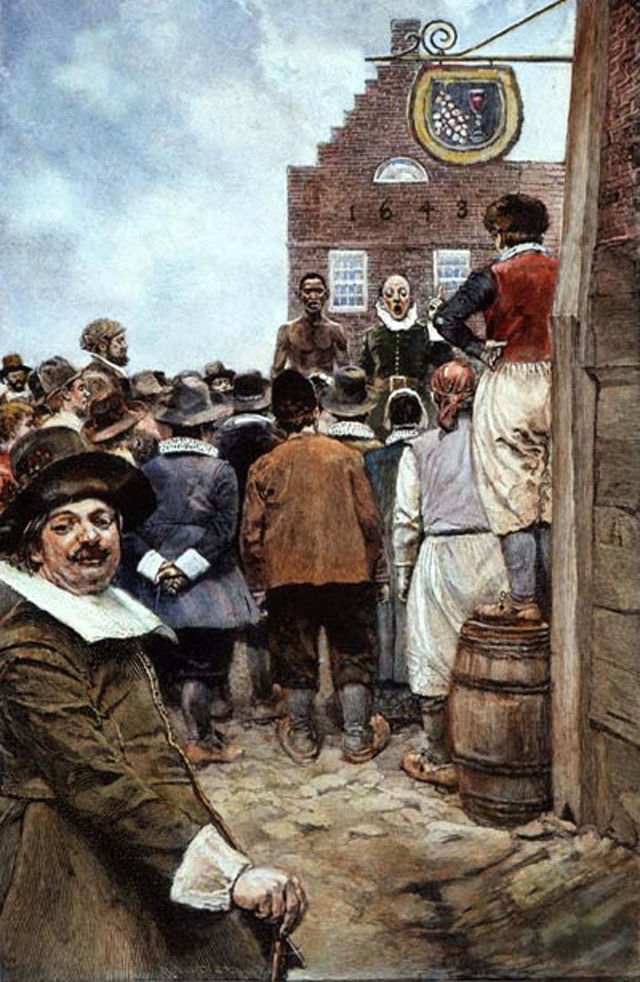 Illustration of the first slave auction in New Amsterdam, which took place in 1655.