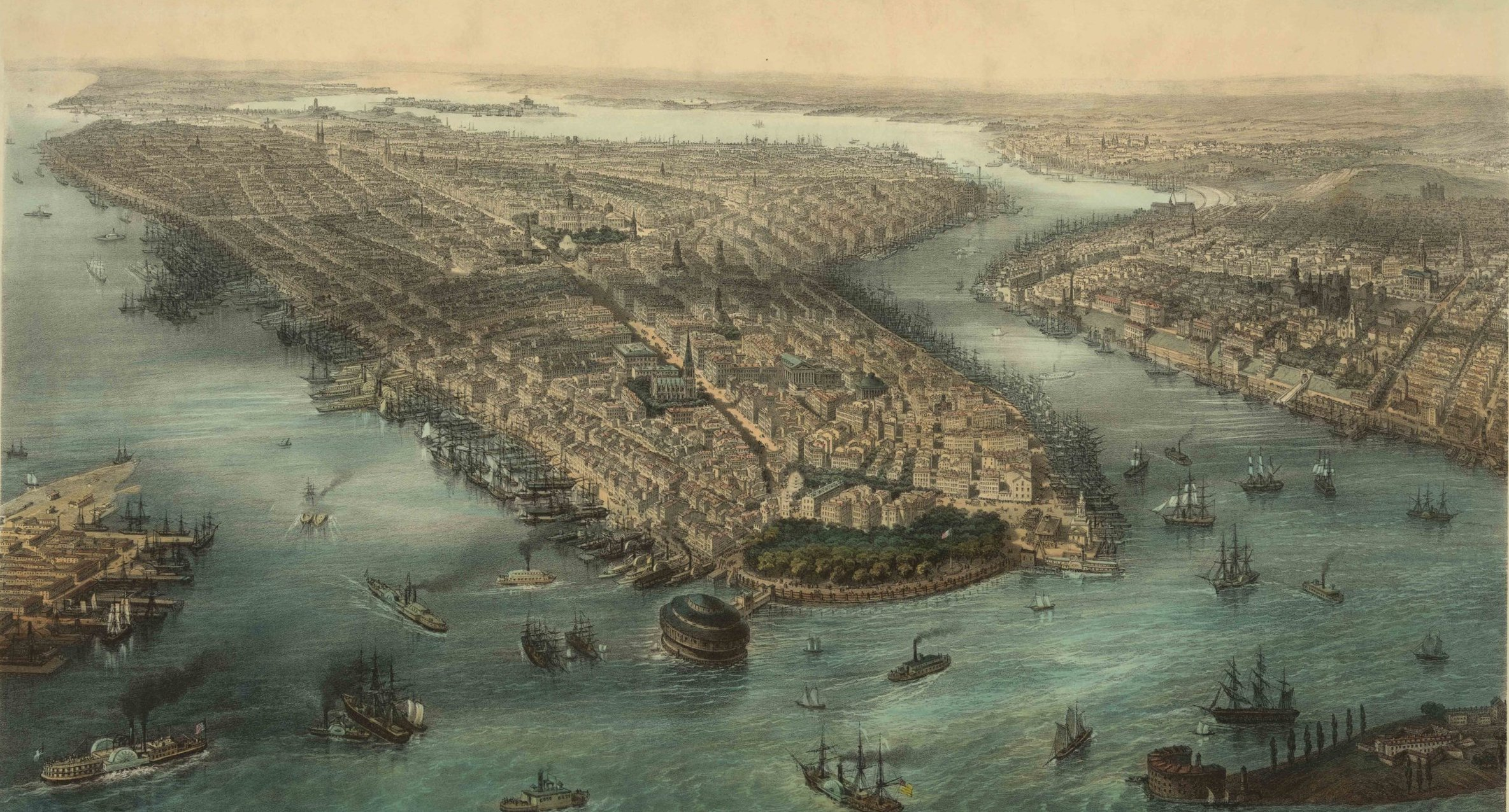 New York City bird's-eye view, 1850s.  Purchase a fine-art print .