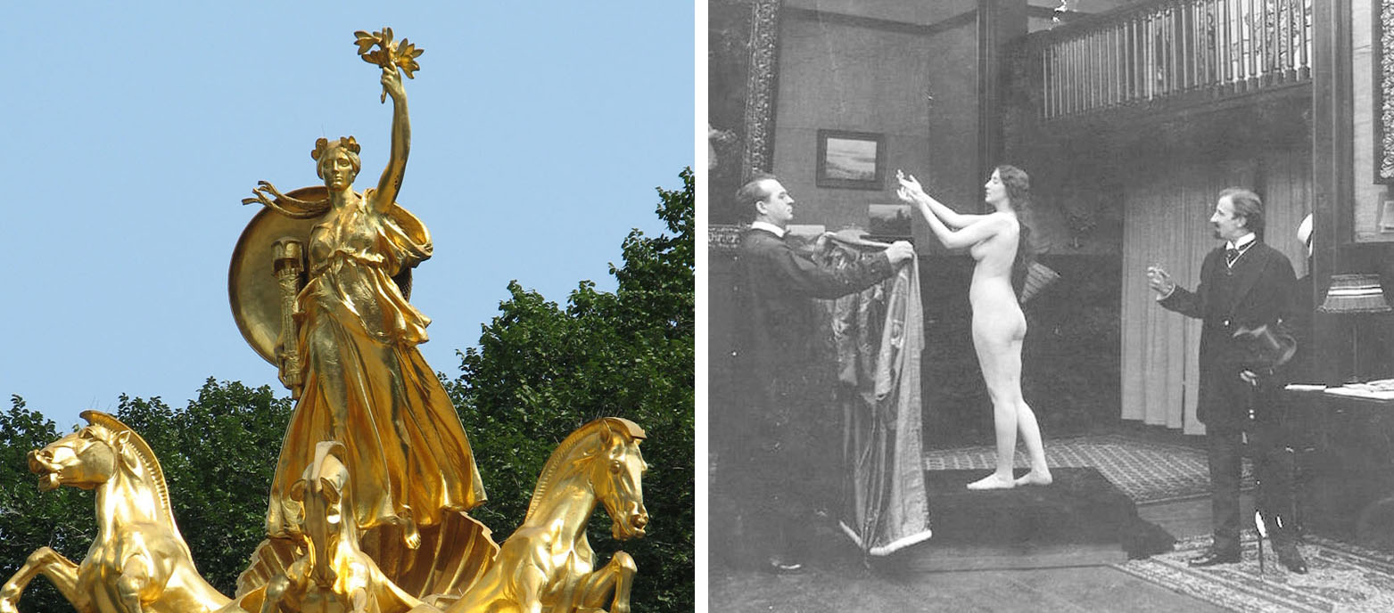 Left: Battleship Maine memorial by Attilio Piccirilli in Central Park. Right: Munson posing.