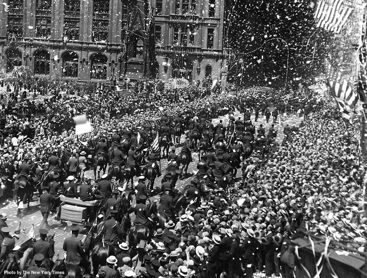 Charles Lindbergh's ticker tape parade in 1927. Credit: New York Times