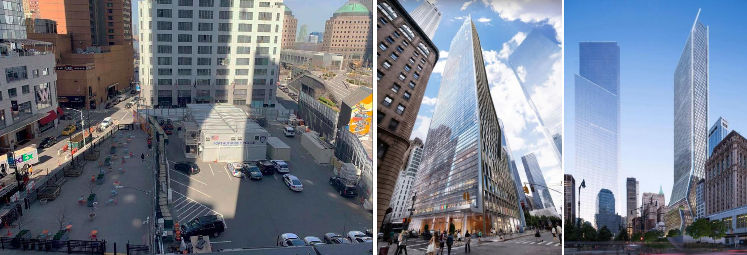 Left: Current conditions of the 5 WTC site from the 2019 RFP. Middle and right: 2014 KPF design for 5 WTC.