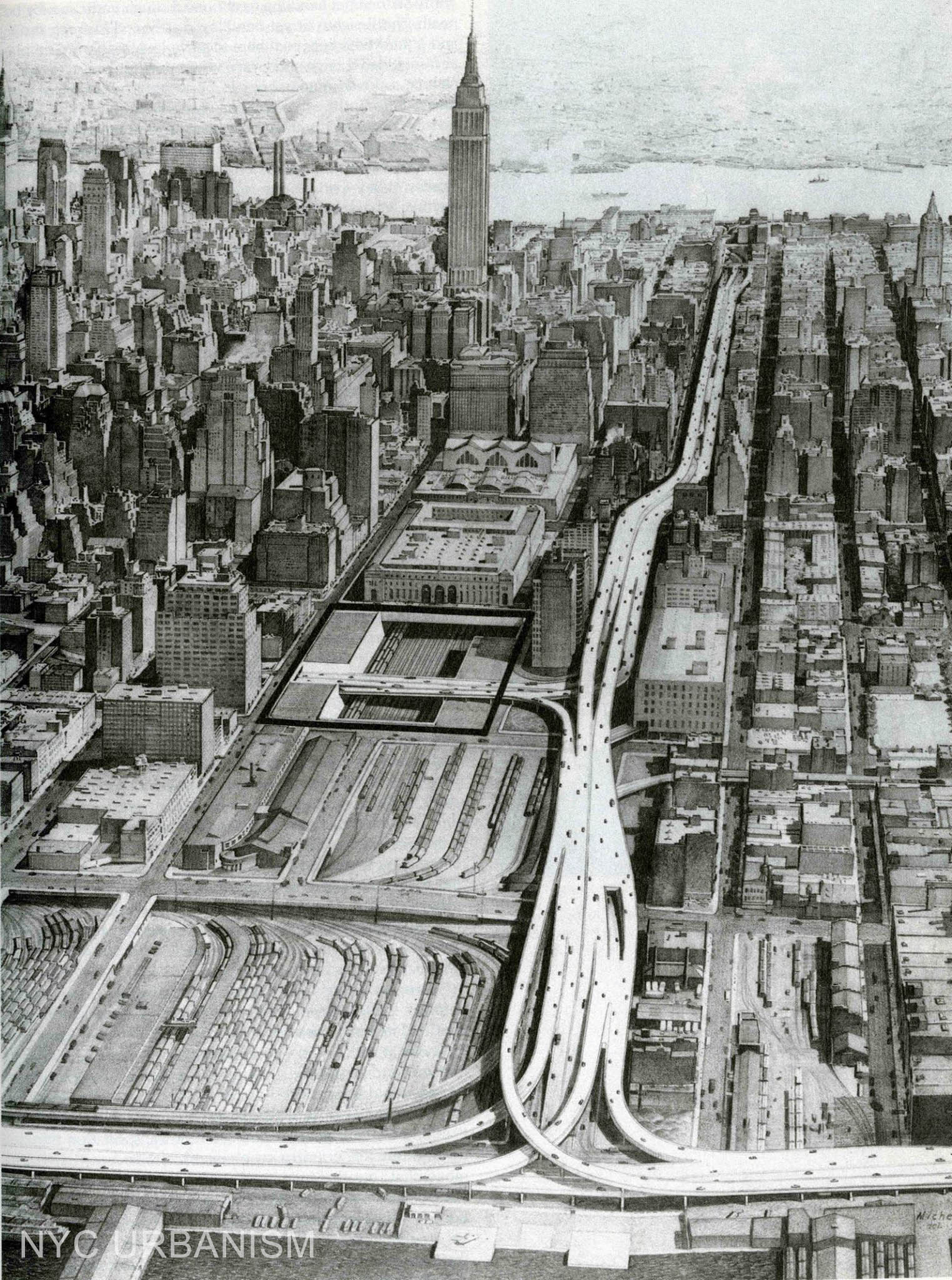 Mid-Manhattan Expressway birds-eye, looking east
