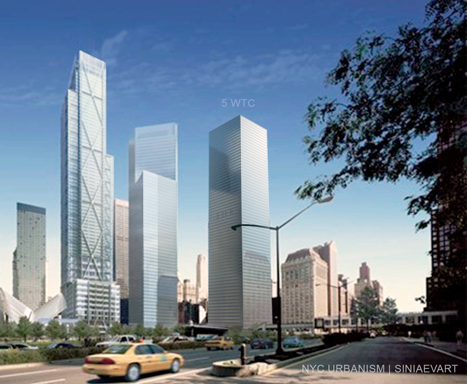 Rendering showing 5 WTC from West Street with 1.35 million square feet rising to 900 feet, as established in the Port Authority and LMDC's recent request for proposal. Rendering SINIAEVART for NYC Urbanism.