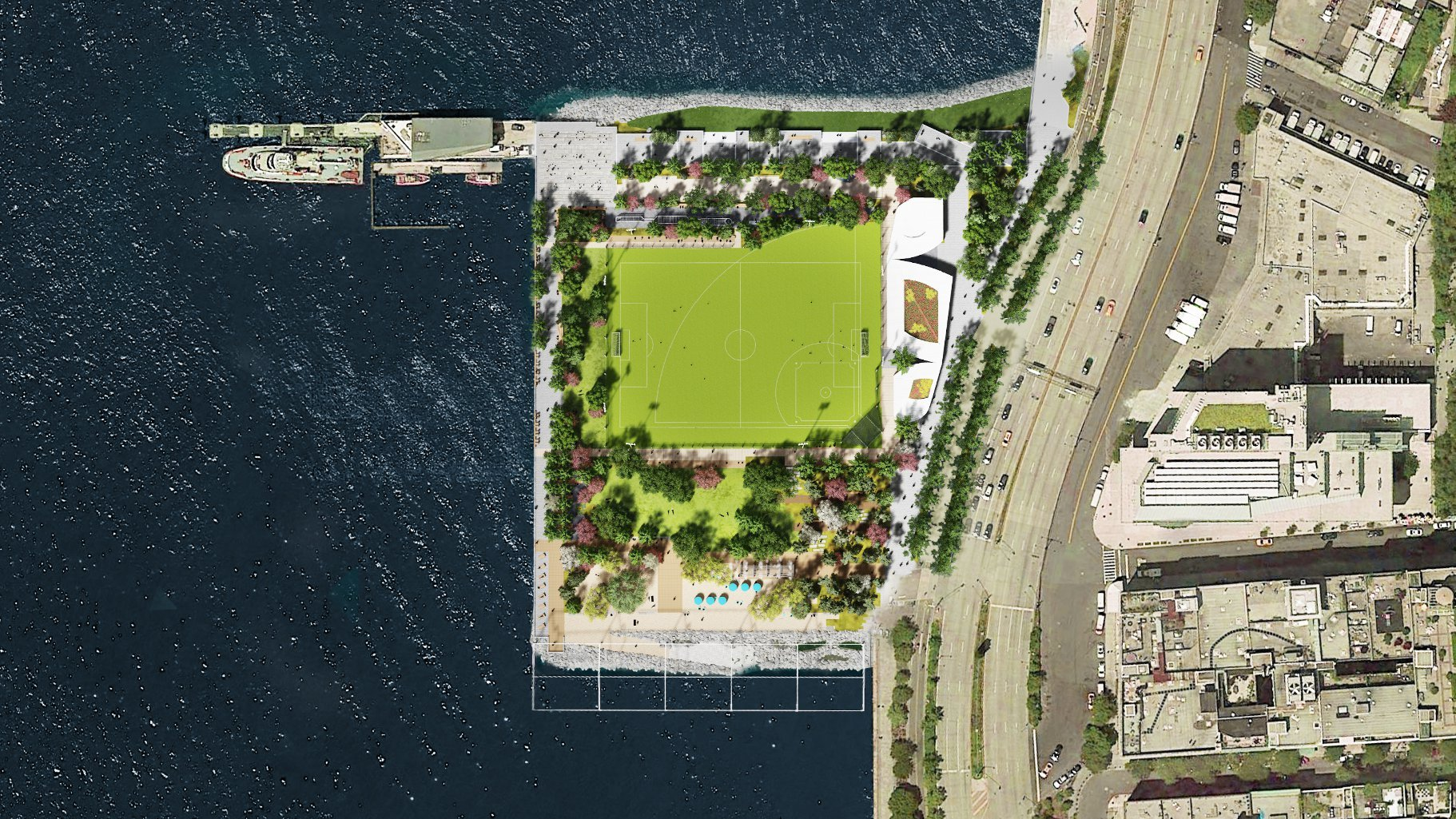 Renderings provided by James Corner Field Operations, courtesy the Hudson River Park Trust