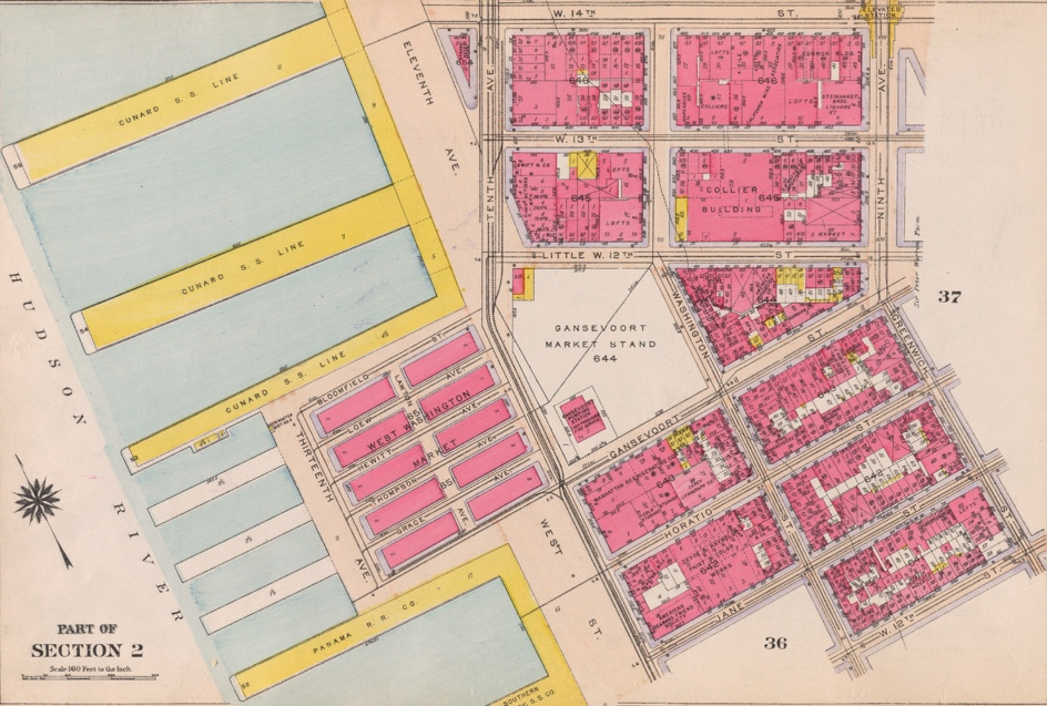 Thirteenth Ave was added to the Manhattan grid in 1837 with the addition of landfill on the Hudson River from 11th to 29th streets. This 1916 Bromley map shows the landfill that became the DSNY pier that was recently demolished for Gansevoort Park.  Click to purchase a print of the map.