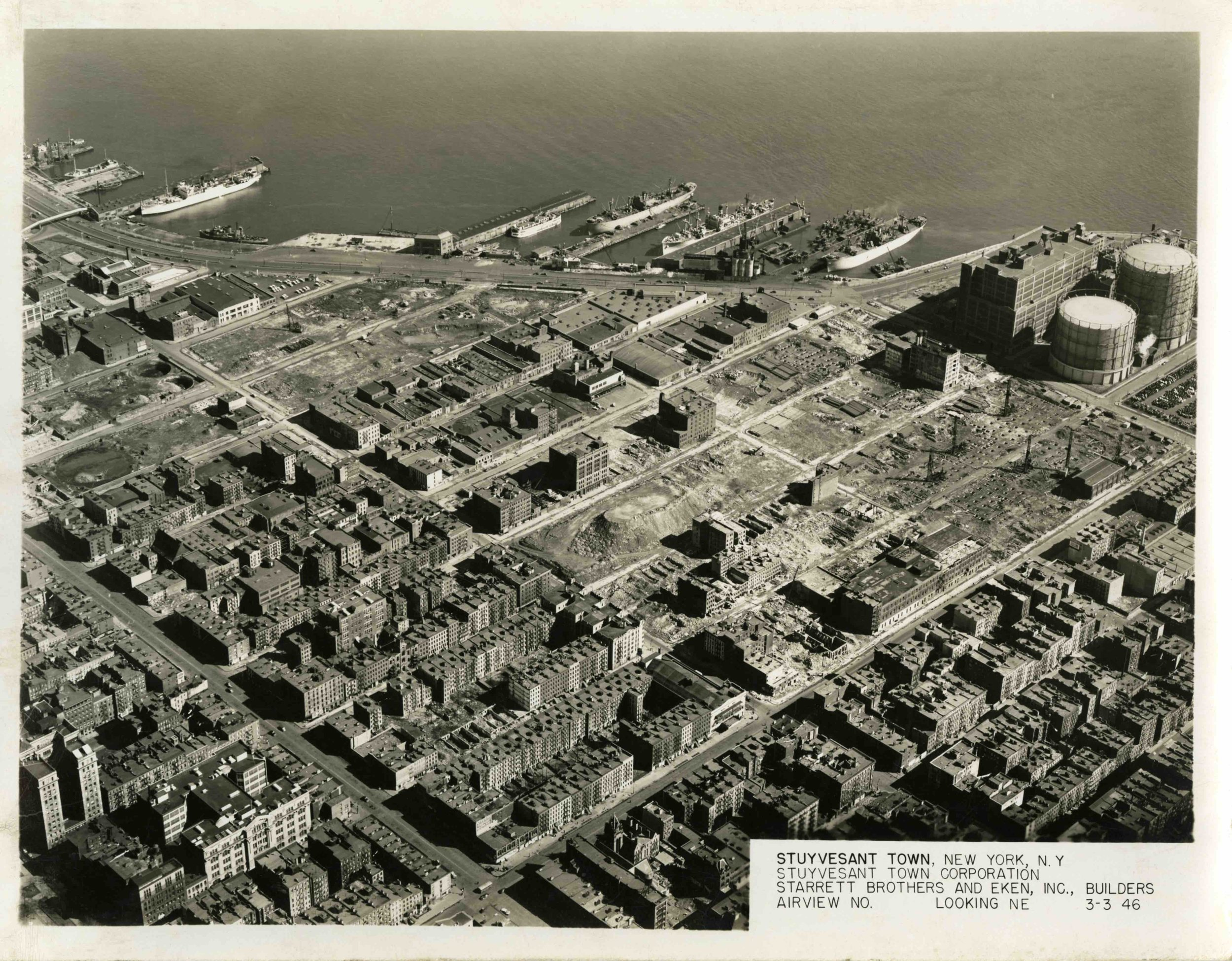 S1-March 3 1946, Stuyvesant Town, Aerial View, Looking North East.jpeg
