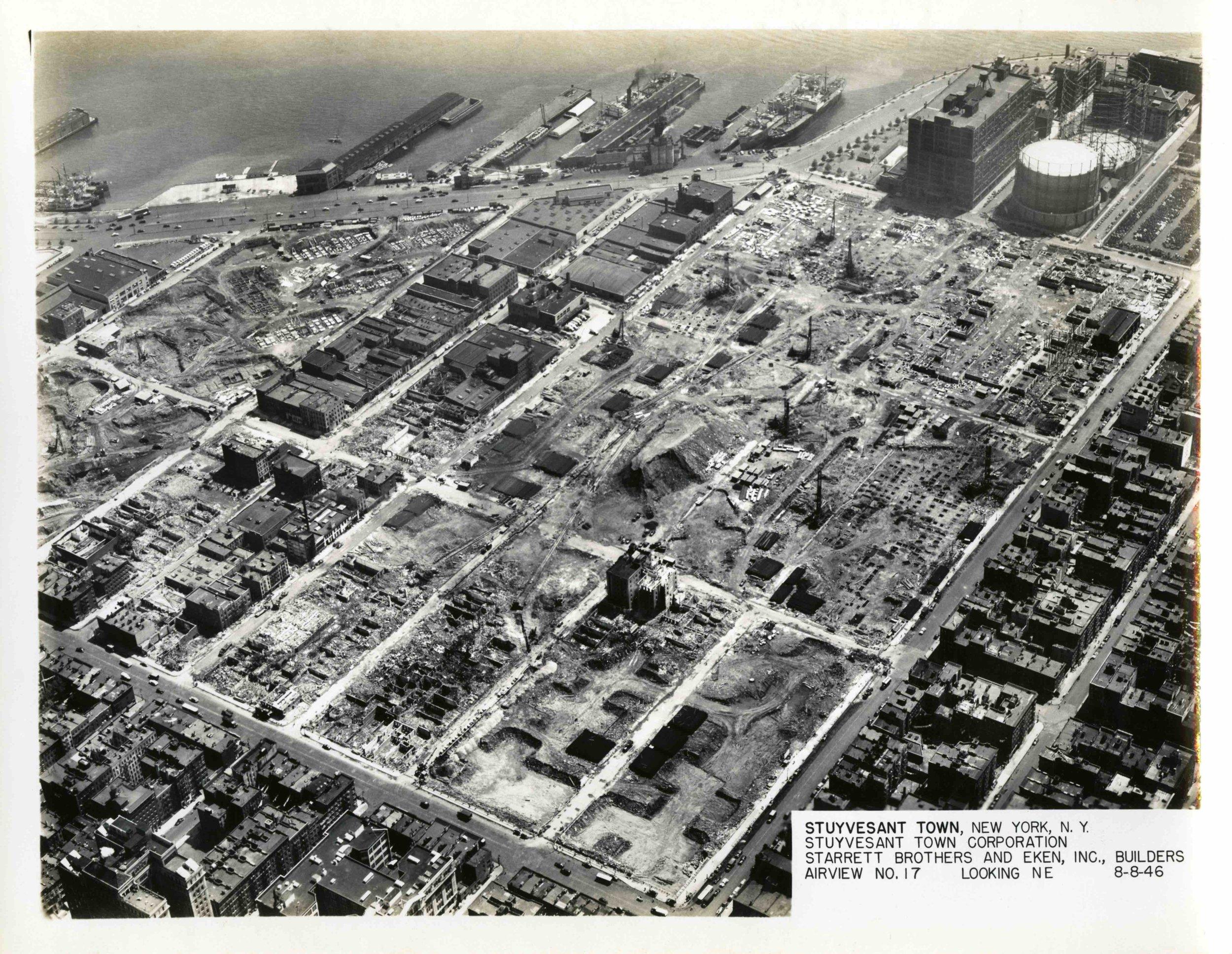 S17-August 8, 1946, Stuyvesant Town Aerials, Looking North East.jpeg