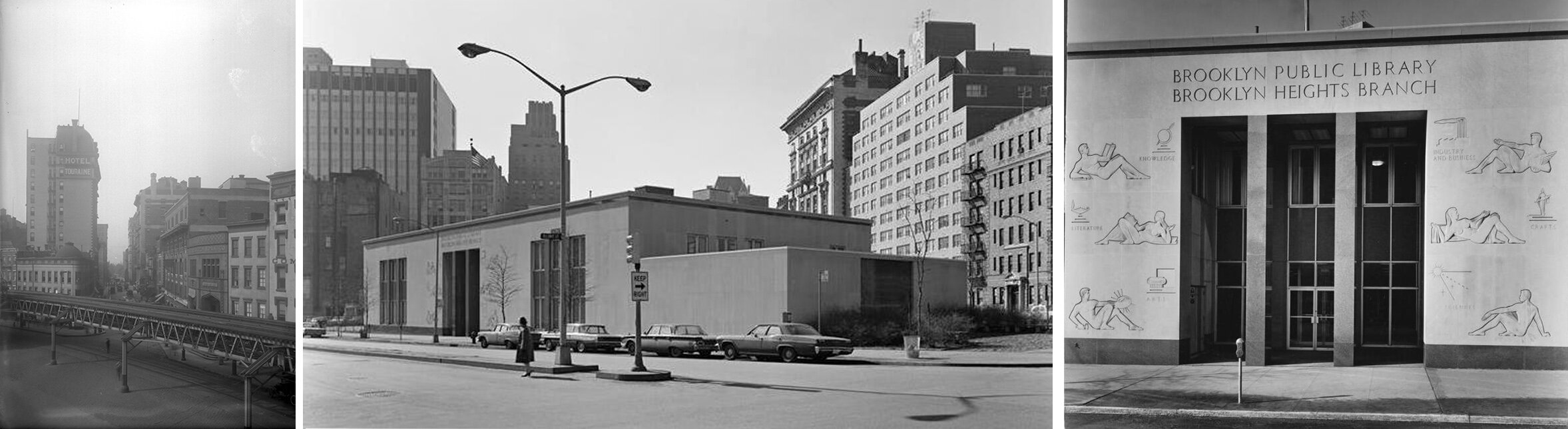 Left: The future site of One Clinton (intersection of Clinton and Old Fulton Street) in 1922. Middle and right: Brooklyn Heights Public Library after opening.