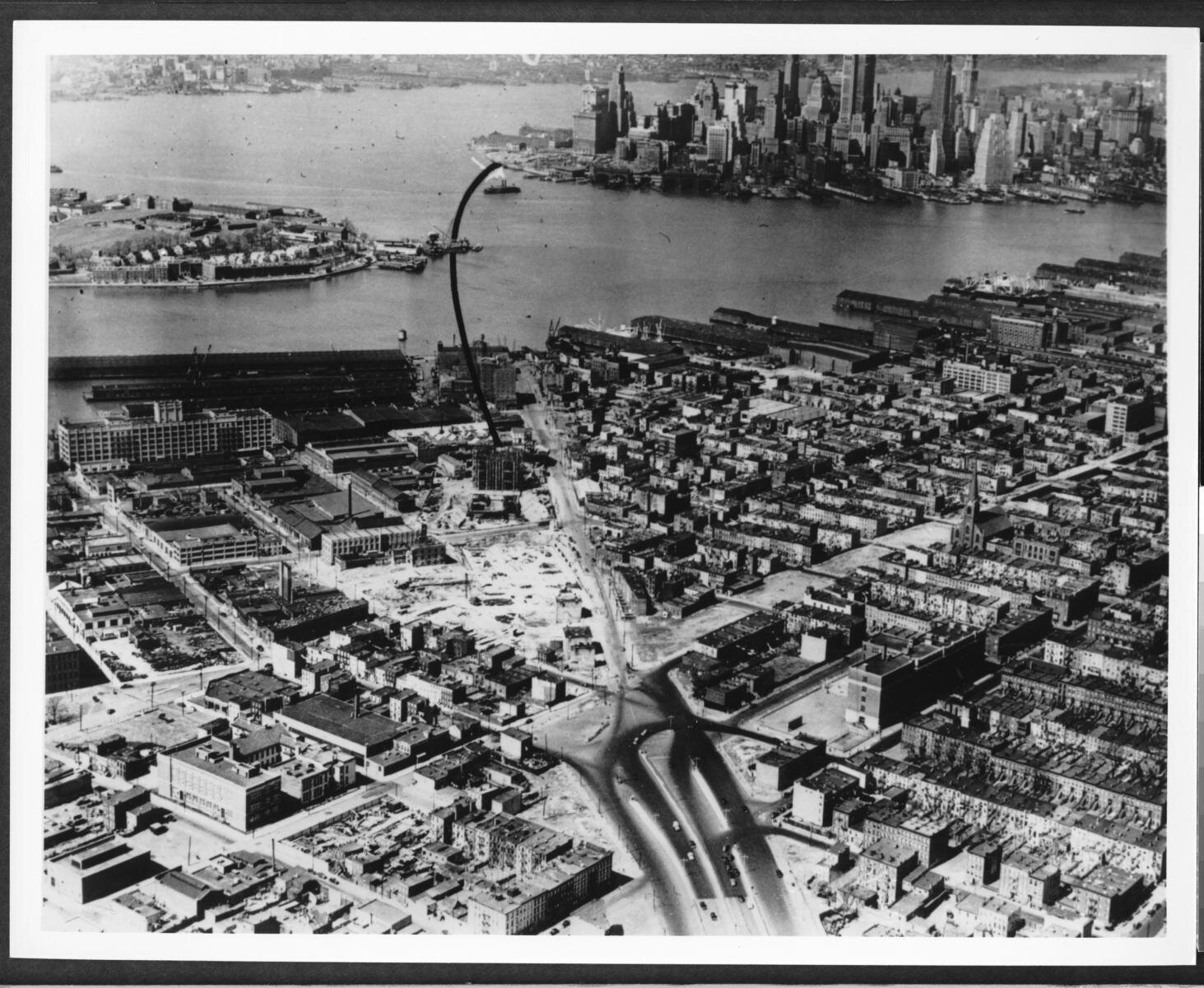 Aerial photograph of Red Hook, Brooklyn-Battery Tunnel, construction. Brooklyn Daily Eagle photographs, Brooklyn Public Library Collection.