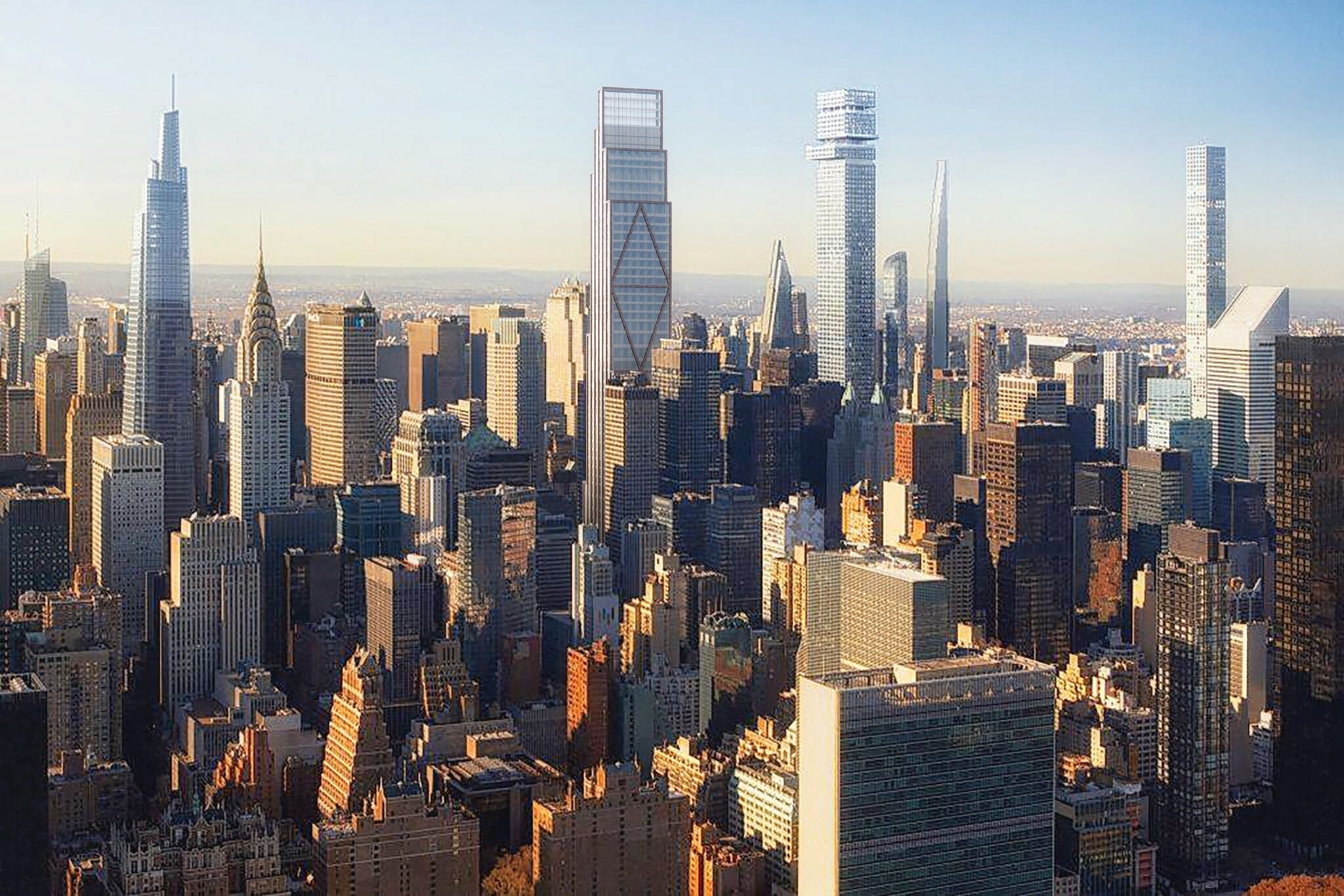 From left: One Vanderbilt, 270 Park, Tower Fifth, 111 West 57th and 432 Park.