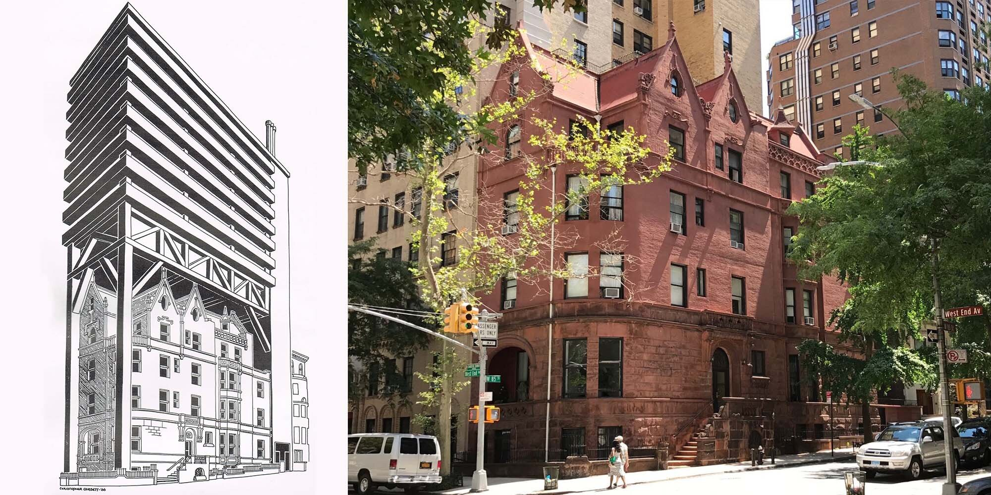 Left: 1986 proposal for addition above 520 West End Avenue. Right: contemporary photo of the building. Credit: Stux Gallery.