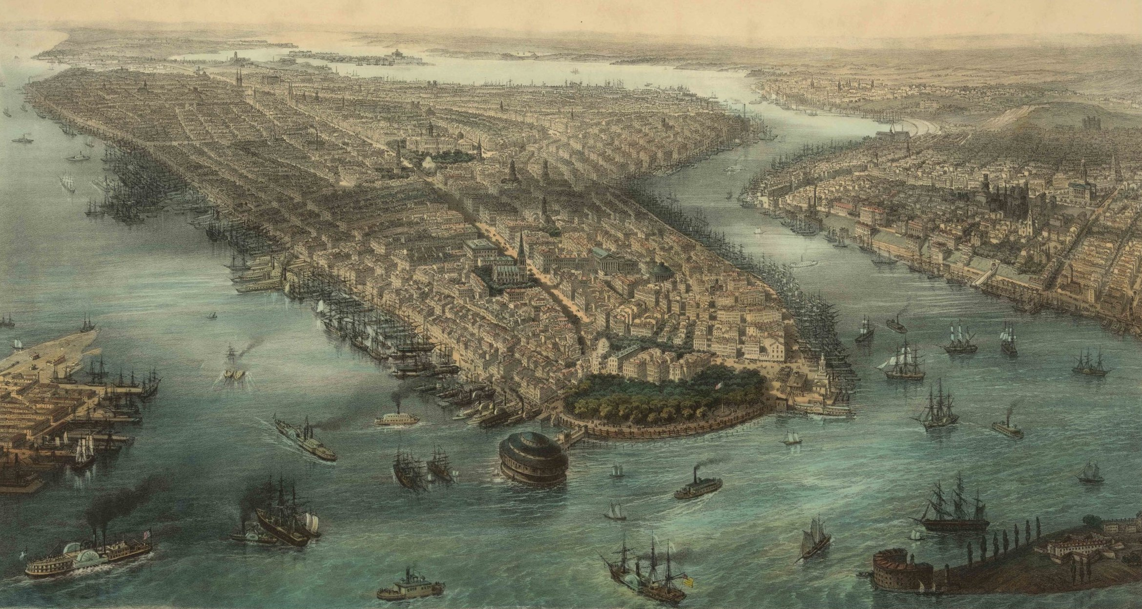 1850s View of New York and Brooklyn from the Battery