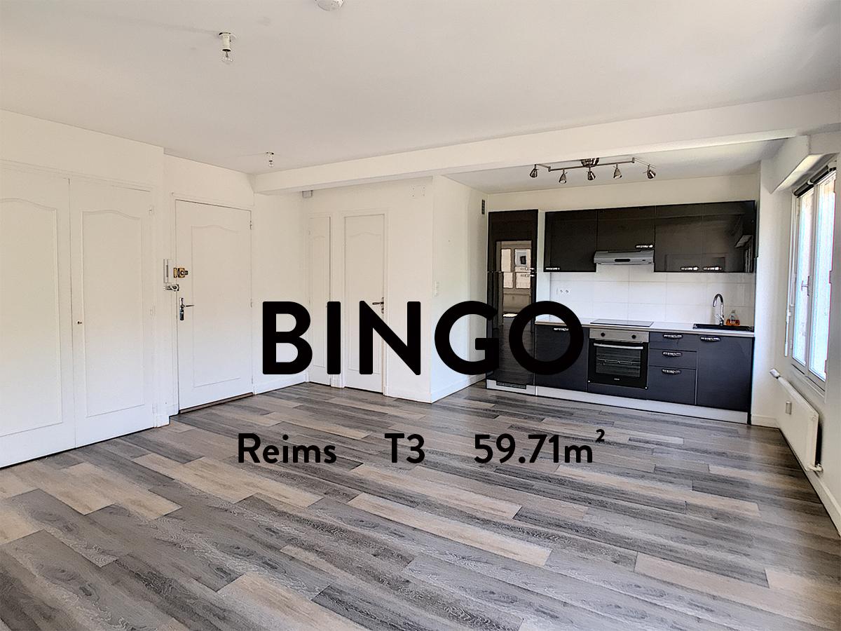 BINGO - T3 - REIMS  660€+150€ de charges (chauffage inclus)