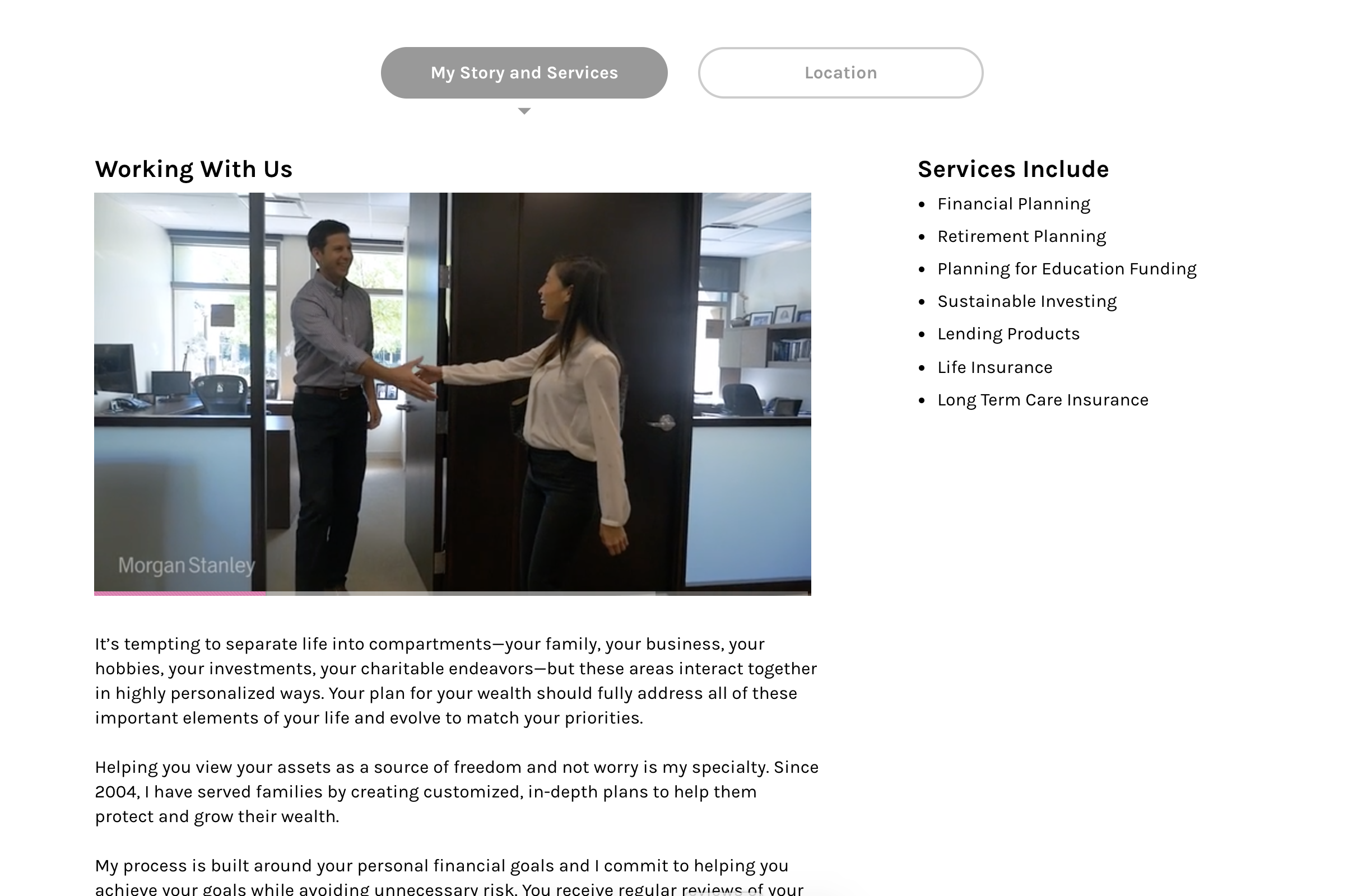 David is leveraging his brand video on his services landing page…