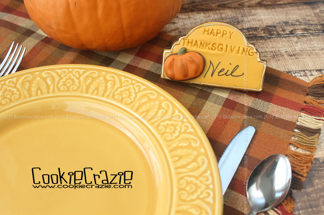 Thanksgiving Dinner Place Card Decorated Cookie