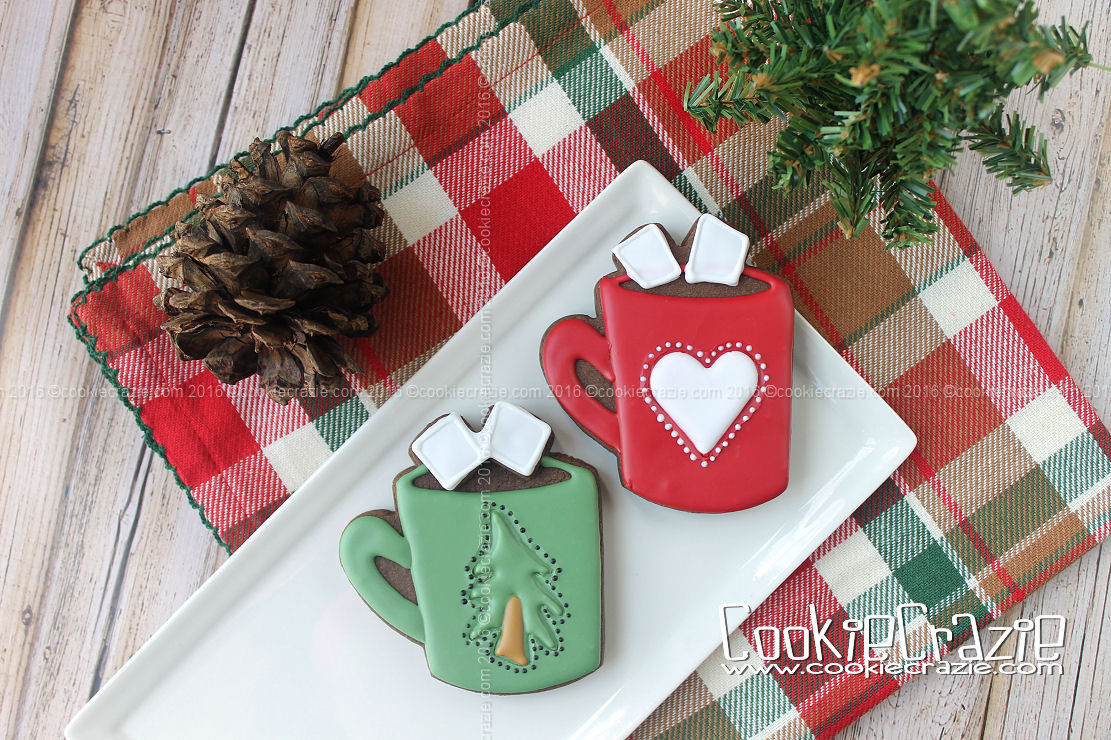 Holiday Hot Chocolate Mug Decorated Cookies (Tutorial)