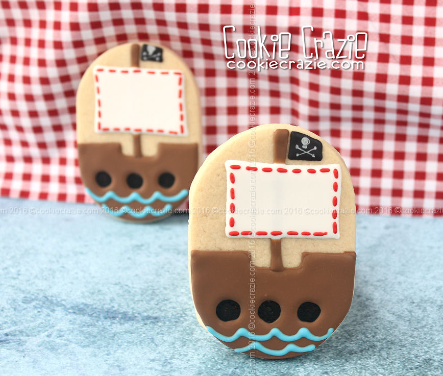 Pirate Ship Decorated Cookie (Tutorial)