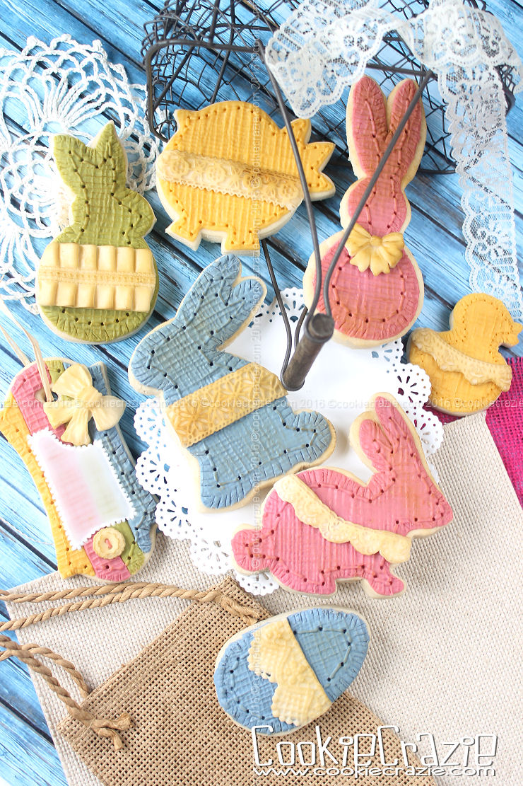 Burlap 'N Lace Bunny Decorated Cookies (Tutorial)