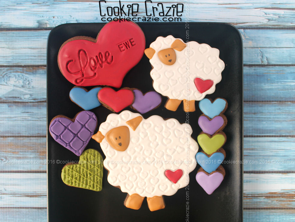 Love Ewe Valentines Decorated Cookies