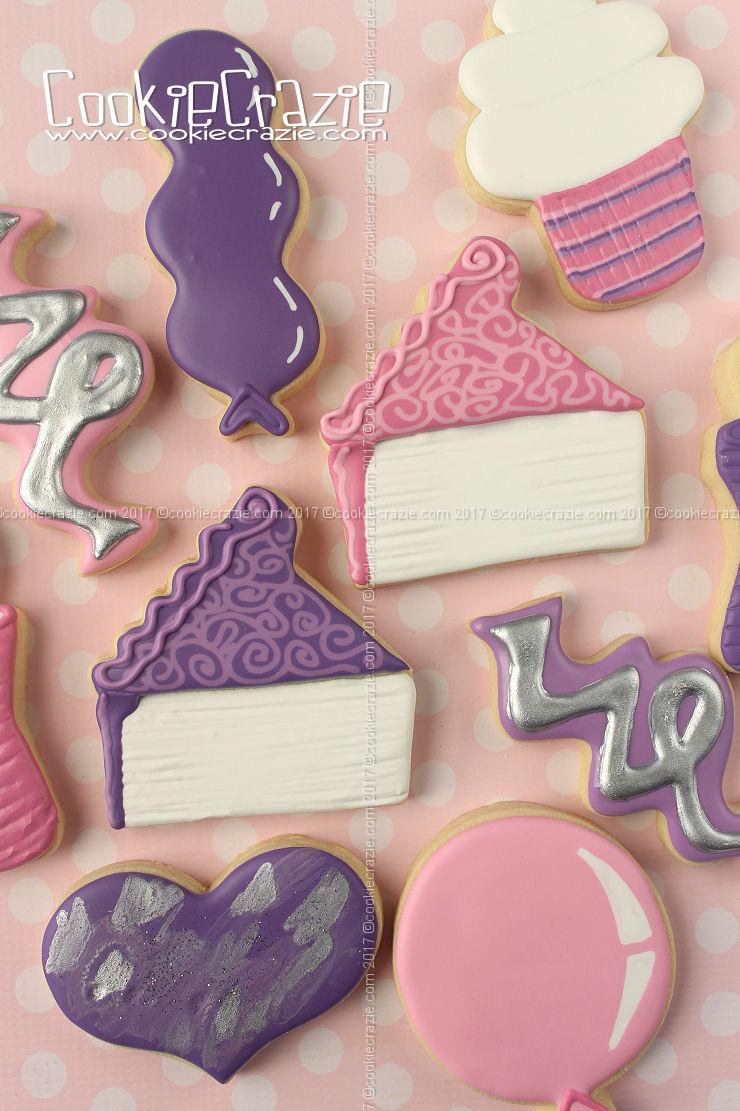 Birthday Cake Slice Decorated Cookies (Tutorial)