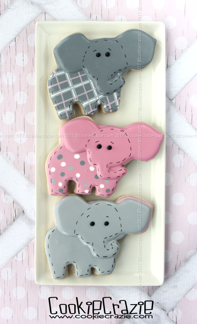 Ellie the Elephant Decorated Cookie (Tutorial)
