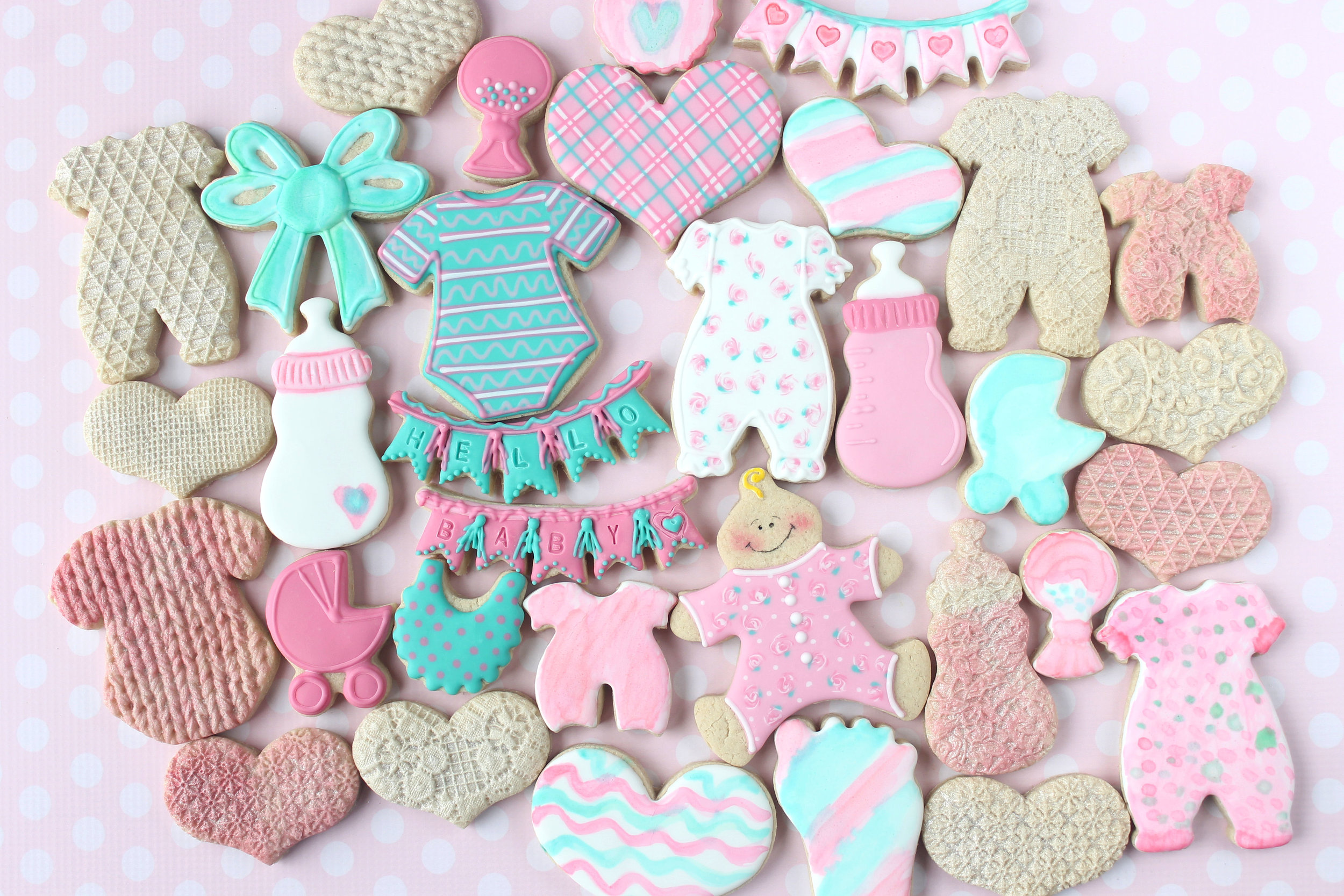 Hello Baby Girl Decorated Cookie Collection