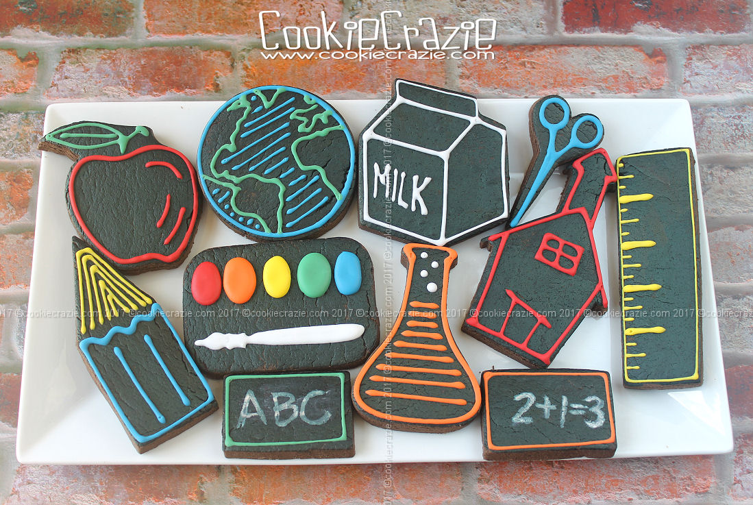 Back To School Neon Styled Decorated Cookie Collection