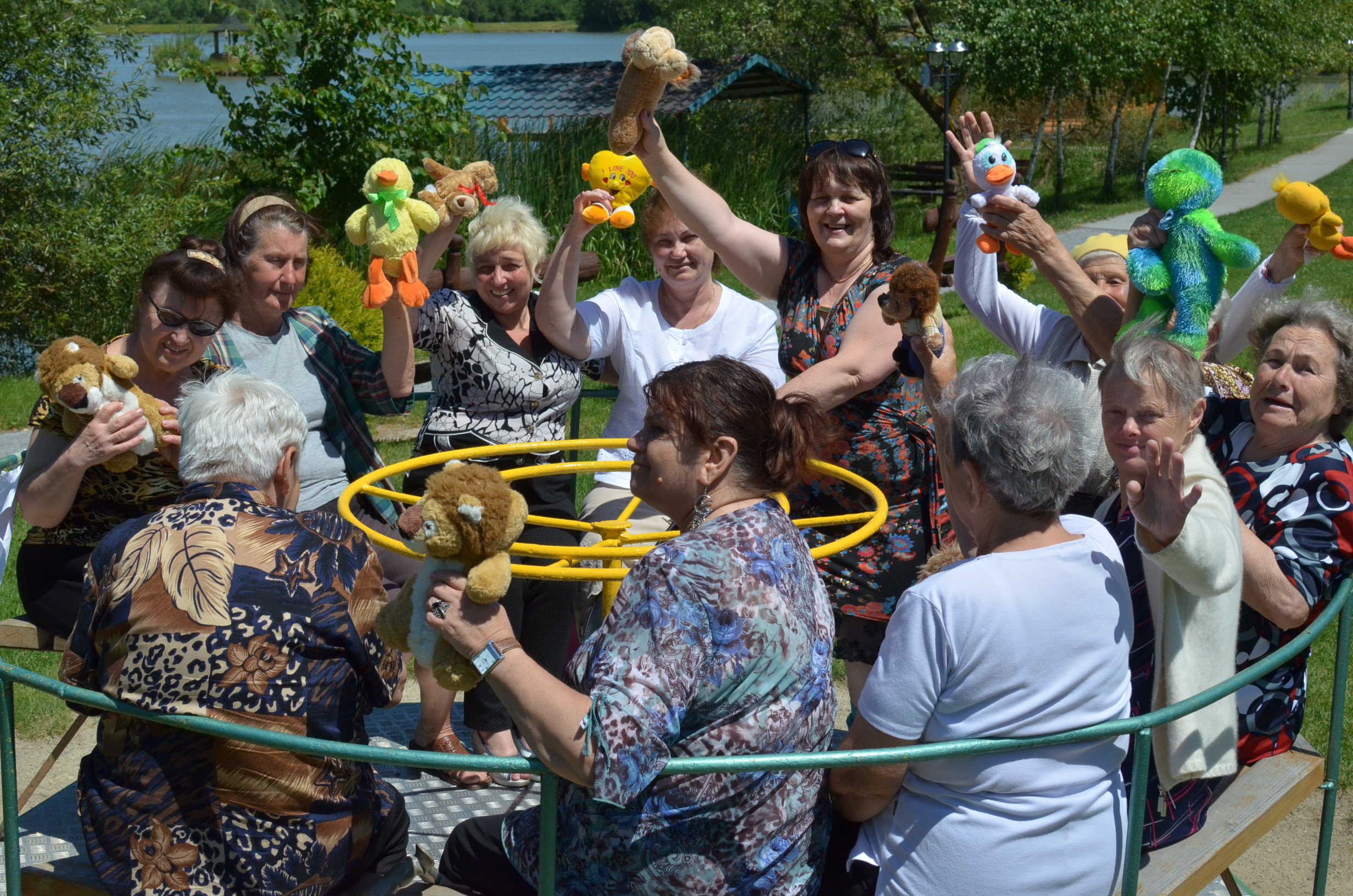 The elderly ladies had a blast on the merry-go-round!