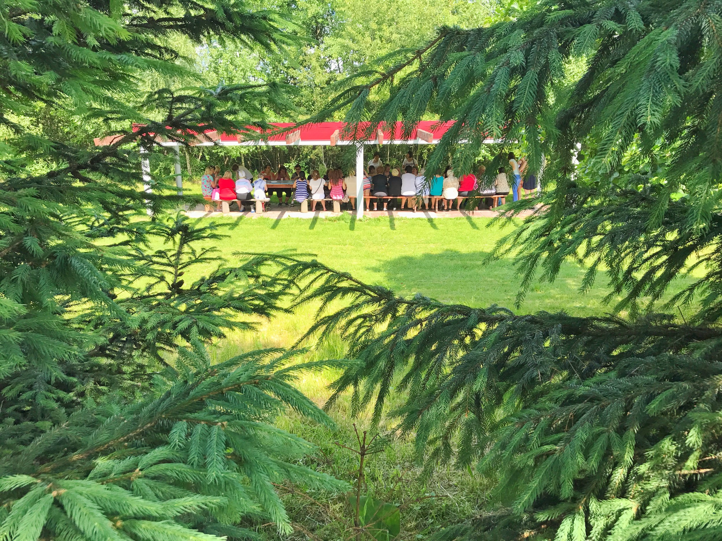 Some of their classes took place at a covered pavillion outside....