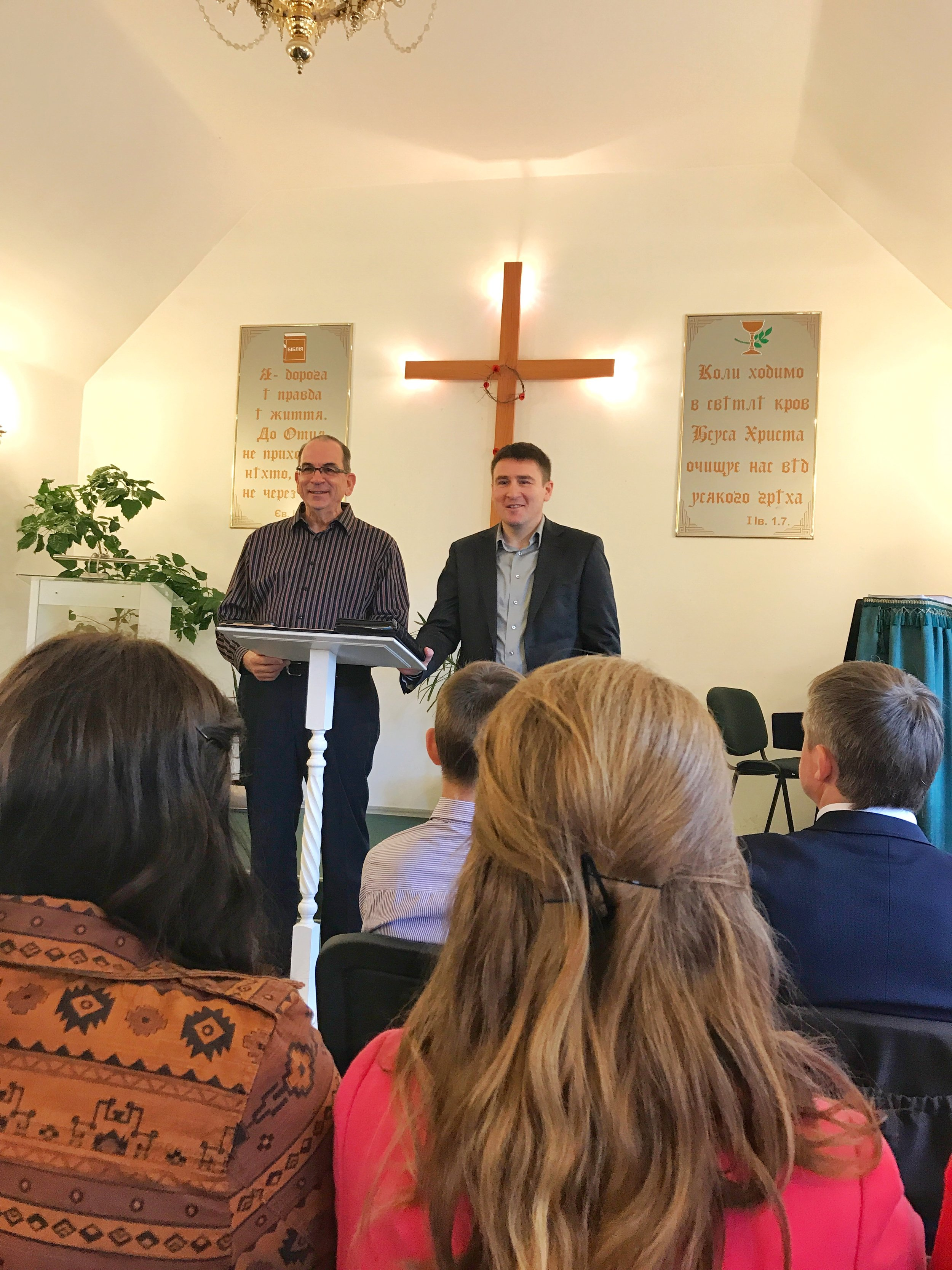 Dave preaching and Slavik interpreting for Sunday's sermon...