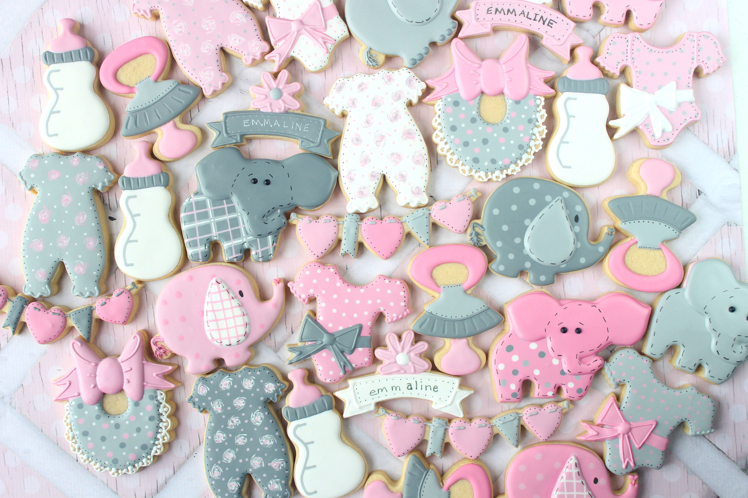 Elephant Themed Baby Girl Shower Decorated Cookie Collection